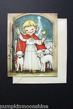 #D684- Vintage Eva Harta Ars Sacra Xmas Greeting Card Angel & White Lamb Flock