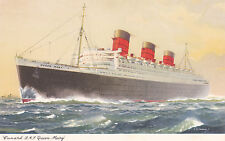Postcard Cunard Cruise Line RMS Queen Mary signed Turner unused Ship