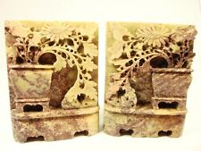 Antique Set Of 2 Soap Stone carved figures brown cream flowers in a vase