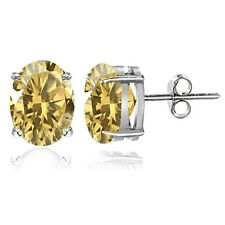 Sterling Silver Citrine 8x6mm Oval Stud Earrings