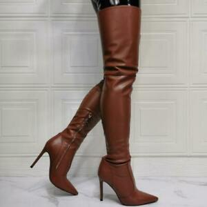 Sexy Women's Nightclub Pointy Stiletto Cosplay Over The Knee High Thigh Boots