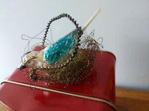 Antique German mercury glass bird wire wrapped nest