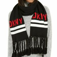 DKNY logo stadium tassel women's winter scarf  - BLACK / RED