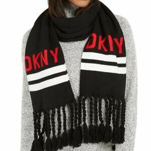 DKNY logo stadium tassel women's winter scarf  - BLACK / RED
