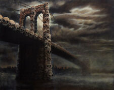 Brooklyn Bridge New York Fantasy Surrealism Skull Original Oil Painting 24 x 30""
