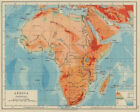 AFRICA PHYSICAL. Relief ocean depths rivers. JOHNSTON 1910 old antique map