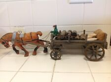 Vintage Large Cast Iron Horse With Customized Carriage With Barrels And Bags