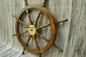 36 Inch Wooden Ship Steering Wheel Pirate Décor Wooden Brass Finishing Wall...