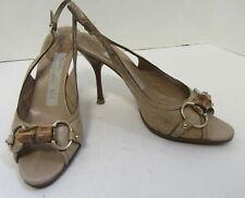 bf1d7a38b GUCCI Beige Embossed Leather Peep Toe Slingback Pumps w/ Bamboo Horsebit  Size 8