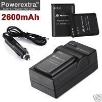 2x 2600mAh EN-EL23 battery + Charger for Nikon Coolpix P900 S810c P610 P600