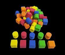 50 X FOAM SHAPES BLOCKS 3D ASSORTED COLOURS ART CRAFT CUT STICK FULLY SHAPED