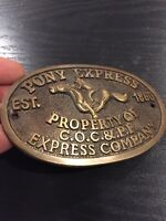 Pony Express Strong Box Plaque Solid Metal Brass Finish Patina Cast Iron WOW Ex