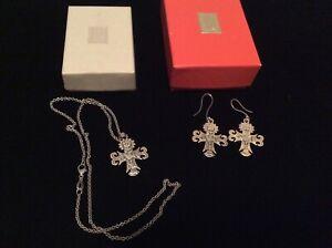 James Avery Retired Sterling Silver La Primavera Cross Pendant Necklace Earrings