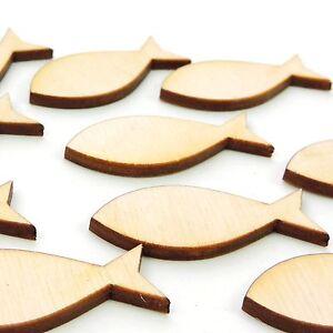 christliche Fische 10 Stück 4,5 cm Holz Streudeko Taufe Konfirmation Ichthys