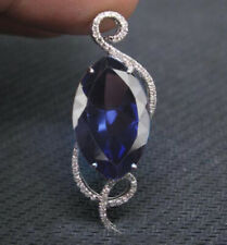14KT White Gold 1.70Ct Natural Blue Tanzanite EGL Certified Diamond Pendant