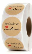 """25 Handmade with love stickers 1.5"""" crafters envelope seal bake sale craft fair"""