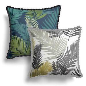 "Tropical Cushion Covers Ochre Teal Pom Pom Palm Leaf Cushions Cover 17"" x 17"""