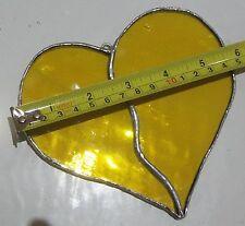 HANDMADE Stained Glass Love Heart Suncatcher Bright Yellow Tiffany Technique