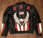 Vintage Diamond Plate USA Patriotic Black Leather Motorcycle Jacket Mens Medium