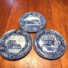 3 Antique Wedgwood Blue & White Historical Pictorial Portrait Plates
