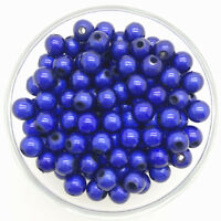 50PCS 8mm 3D Acrylic Blue Round Pearl Spacer Loose Dream Beads Jewelry Making