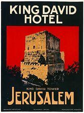 """King David Hotel JERUSALEM Israel Old RICHTER Luggage Label Kofferaufkleber """"L"""""""