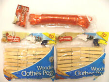 10 Metre Heavy Duty Clothes Line Washing Plus 60 Wooden Pegs Clinehdblue Peg3bx2