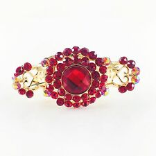 USA Hair Claw Clip Hairpin Rhinestone Crystal Vintage Barrette Simple Red A11