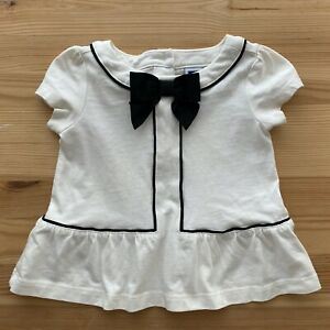 JANIE AND JACK Bows Forever Black & White Top Shirt Size 6-12 Months