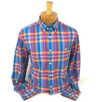 Tommy Hilfiger Long Sleeve Button Down Shirt Mens Size Large Custom Fit Plaid