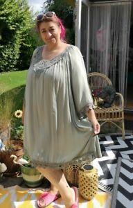 LIGHT KHAKI crochet trim 3/4 slv knee length Sundress Italy Onesize 12-14to22-24
