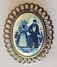 Scarf Ring Clip Holder ~ Dutch Scene Ceramic Insert ~ Silver Tone & Blue & Cream