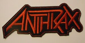 """Anthrax~Patch~Embroidered~5"""" x 2 1/8""""~Iron or Sew on~Heavy Metal Rock"""
