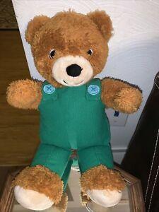 "KOHLS CARES CORDUROY TEDDY BEAR W/ GREEN OVERALLS PLUSH - 14"" TALL"