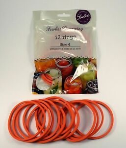 Fowlers Vacola Preserving Rings Size 4, One Pack of 12 Rings NEW