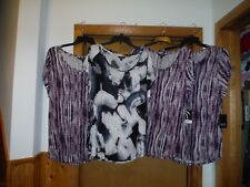 Short Sleeve Scoop Blouses Simply Vera Vera Wang XL,L,M,Multi Color 100% rayon