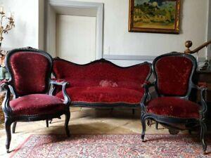 French Sofa Set, Antique Napoleon III Salon Suite