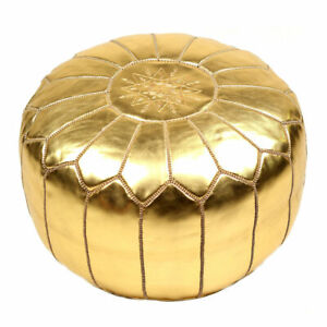Gold faux Leather Round Ottoman Hand stitched Unstuffed Moroccan Boho Pouf
