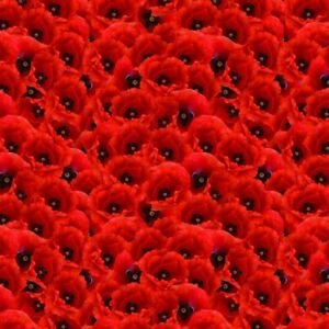 Crafty Cotton Poppies Fabric Red Poppy Print Rememberance Floral 100% Cotton