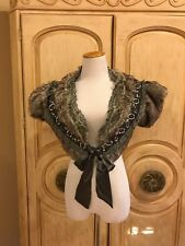 NWT~ PRETTY ANGEL Gray Faux Fur Shrug  With Lace and Beaded Detail  Sz. XL