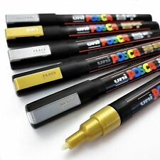 Uni Posca PC-3M Paint Art Marker Pens - Gold and Silver - Wallet of 6
