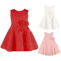 New Lovely Kids Baby Girls Summer Dress Sleeveless Lace Dress Clothes hv2n