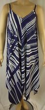 City Chic Blue White Stripe Strappy Asymm Riviera Dress Size S 16 # R74