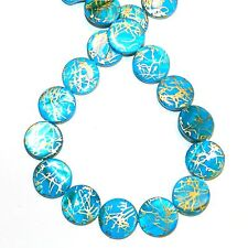 MP2416 Blue w Gold Drawbench Drizzle 20mm Round Mother of Pearl Shell Bead 15""