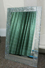 40*60CM SILVER GLITTER FRAME WALL MIRROR SILVER SPARKLE GIRLS ROOM MIRROR NEW