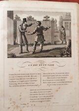 LA FONTAINE. UN FOU ET UN SAGE. FABLE ET GRAVURE 1834