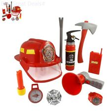Fire Fighter Pretend Play Kit Toy 10 Pcs Kids Fireman Role Costume Set Dress Up