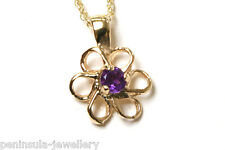 "9ct Gold Amethyst Daisy Pendant and 18"" Chain Gift Boxed Necklace"