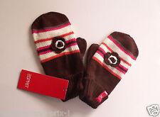 Gants moufles ESPRIT pour fille enfant 50% coton maron NEUF Gloves girl L