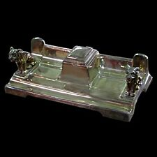 Silver Plate Dog Inkwell. Antique #2284